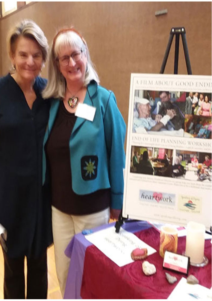 Jennifer Kropack and Dr. Hope Wechkin gather at Speaking of Dying tale